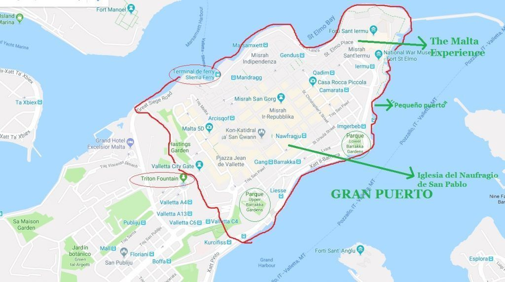 Mapa LA VALETA - Haz La Mochila